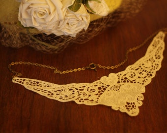 "Vintage Lace Collar Necklace - ANTIQUE ""Virginia"" (Tibetan closure)"