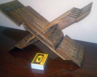 Uzbek Carved Wood Walnut Book Easel Stand Layuh