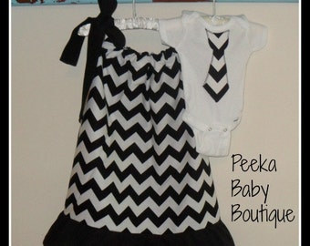 Matching Sibling Outfit Set in Black and White Chevron