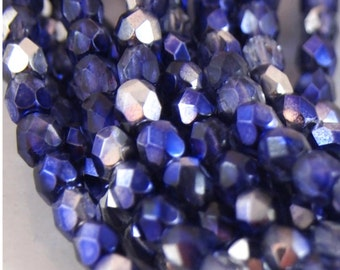 Czech fire Polished Beads-Coated Metallic Purple-4mm round-quantity 50 (CZ 4R MP)