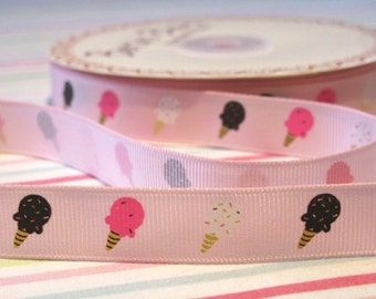 16mm Ice Cream Print Grosgrain Ribbon