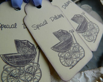 Baby Shower / New Baby Vintage Style Baby Carriage tags set of 6