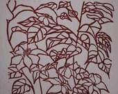 Dark Red Clematis Flower Print