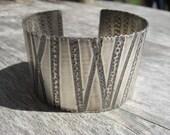 Sterling silver artisan printed cuff bracelet