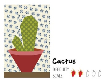 Cactus paper pieced quilt pattern in PDF