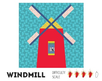 Windmill paper pieced quilt pattern in PDF