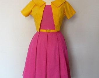 Pink Swing Box Pleated Dress with 1960's Yellow Bolero