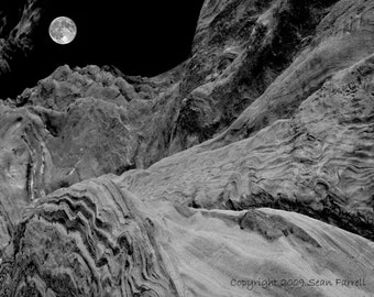 Sandstone Moonrise, Black and White, Fine Art Photography, Landscape, Surreal Landscape,Wall Art