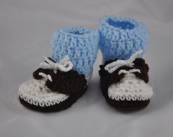 Baby Bootie Saddle Shoes with Blue Socks