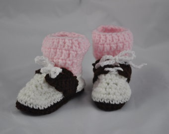 Baby Bootie Saddle Shoes with Pink Socks