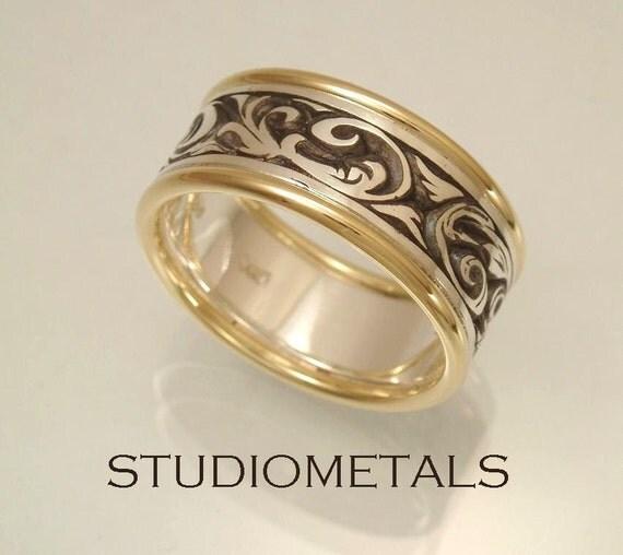Items Similar To Mens Wedding Ring Mens Scroll Band Engraved Ring Wedding Band Mens Ring