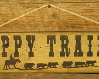 Happy Trails, Western, Antiqued Sign