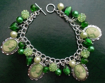Green Cameo Lady Beaded Charms Bracelet