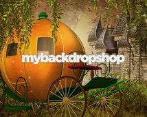 5ft x 5ft Cinderella Photography Backdrop - Pumpkin Coach and Castle Photo Backdrop Prop - Fantasy - Vinyl or Poly - Item 1651