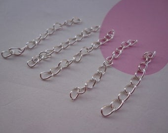200 pcs of 4.5-5cm Long x 3mm wide Exquisite plated Silver Tail Chain