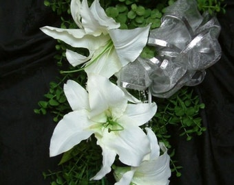 Vintage Style - Traditional Waterfall - WEDDING BOUQUET - White Lilies - Silver Bow - 20 inches long