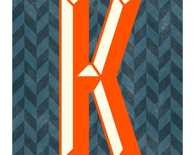 The Letter K, Original Art Print, Typography, Alphabet, Chevron, Red Orange, Charcoal