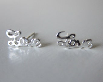 Sterling silver Love Ear Studs