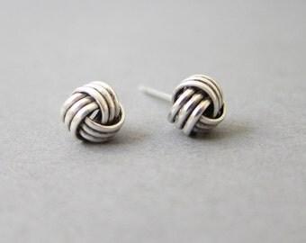 Tiny Sterling Silver Knot Stud Earrings, Dainty Jewelry
