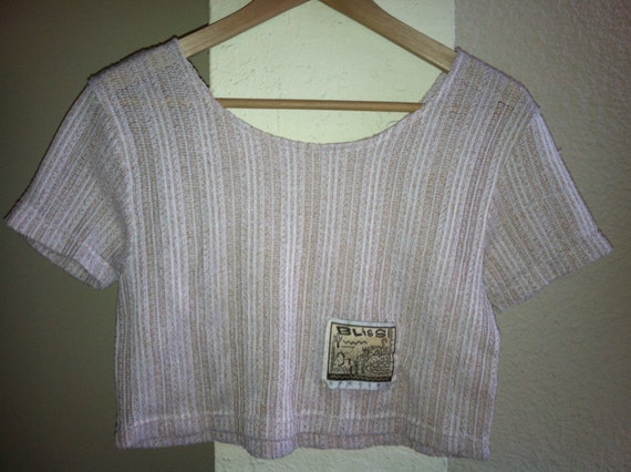 Vintage Bliss Cream and Beige Crop Top T-Shirt