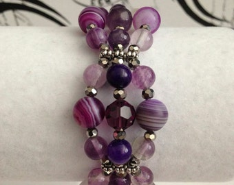 Purple Galaxy // Cosmic // 3-Tiered Glass and Crystals Bracelet