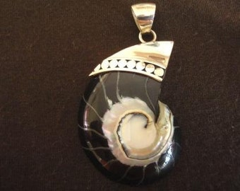 Sterling Silver Shell and Black Resin Pendant