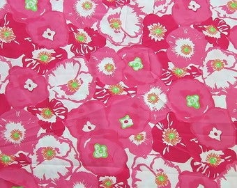 New Lilly Pulitzer Fabric  Hotty Pink Cherry Begonias 9 x 27 inches