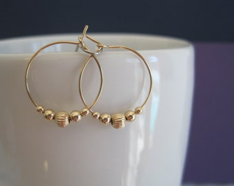 Gold Filled Bead and Hoop Earrings
