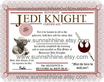 Jedi Knight Certificate (Star Wars, Party Favor, Sci Fi, May The Force Be With You, Gag Gift, Stocking Stuffer)