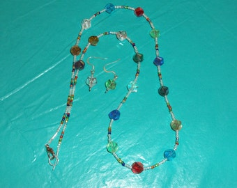 Glass beaded multi color necklace