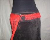 Red leather fringe belt made from deer hide
