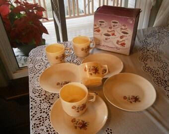 Kitschy 1950's Coffee/ Dessert Set, in Box, Plastic Vintage Was 13.50 Now 10.50