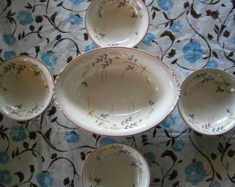 SALE  5pc Homer Laughlin Nautilus China Vtg.  Was 40.00  Now  30.00
