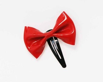 Latex Midi Bow Hair Clip