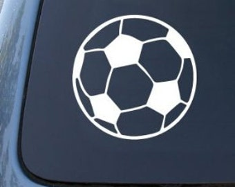 "SOCCER Ball Futball 5"" Vinyl Decal Widow Sticker for Car, Truck, Motorcycle, Laptop, Ipad, Window, Wall, ETC"