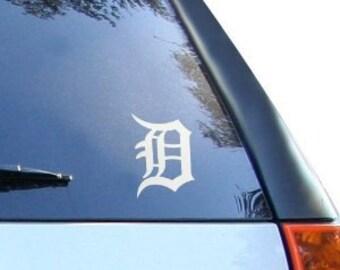 "Detroit ""D"" City Sports 6"" Vinyl Decal Widow Sticker for Car, Truck, Motorcycle, Laptop, Ipad, Window, Wall, ETC"