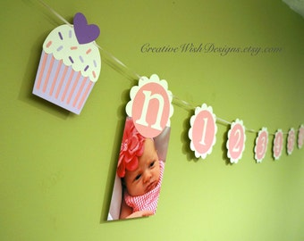Cupcake Theme First Year Photo Banner - Pink and Purple