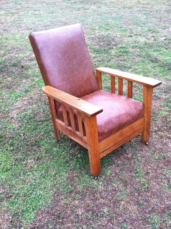 Stylish Recliner: Items Similar To Vintage Morris Style Oak Push Button