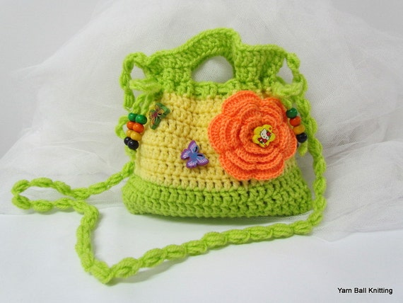 Small Crochet Purse. Crochet Clutch. Childrens Crochet Purse.Crochet ...