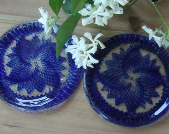 Four Piece Sets Of Cobalt Blue Lacy Wind Coasters
