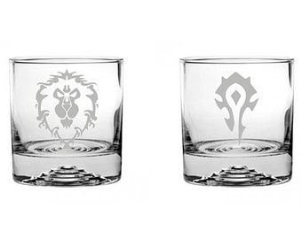 1ea World of Warcraft Alliance/Horde Etched Rocks Glass Personalized WoW