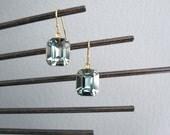 Vintage Blue Swarovski Earrings, Emerald Cut Earrings, Sapphire Earrings, Fancy Earrings, Bridesmaid gift earrings, Mother's Day gift