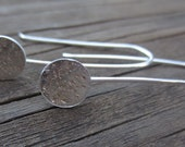 Silver Drop Earrings - Tiny Dot Hanging Hammered Silver Earrings