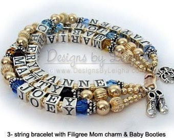 Birthstone Bracelet for Mommy 1, 2, 3, 4, 5, 6 names and birthstones