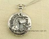 silver Alice in Wonderland Pocket Watch Necklace mens jewelry -girl cat graden