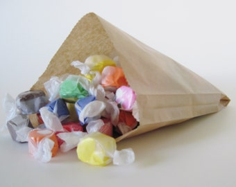 """100 Kraft Wax Sandwich Bag 6""""  x 8"""" for Party Favors and more"""