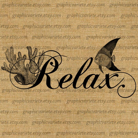 Items similar to relax text word calligraphy typography