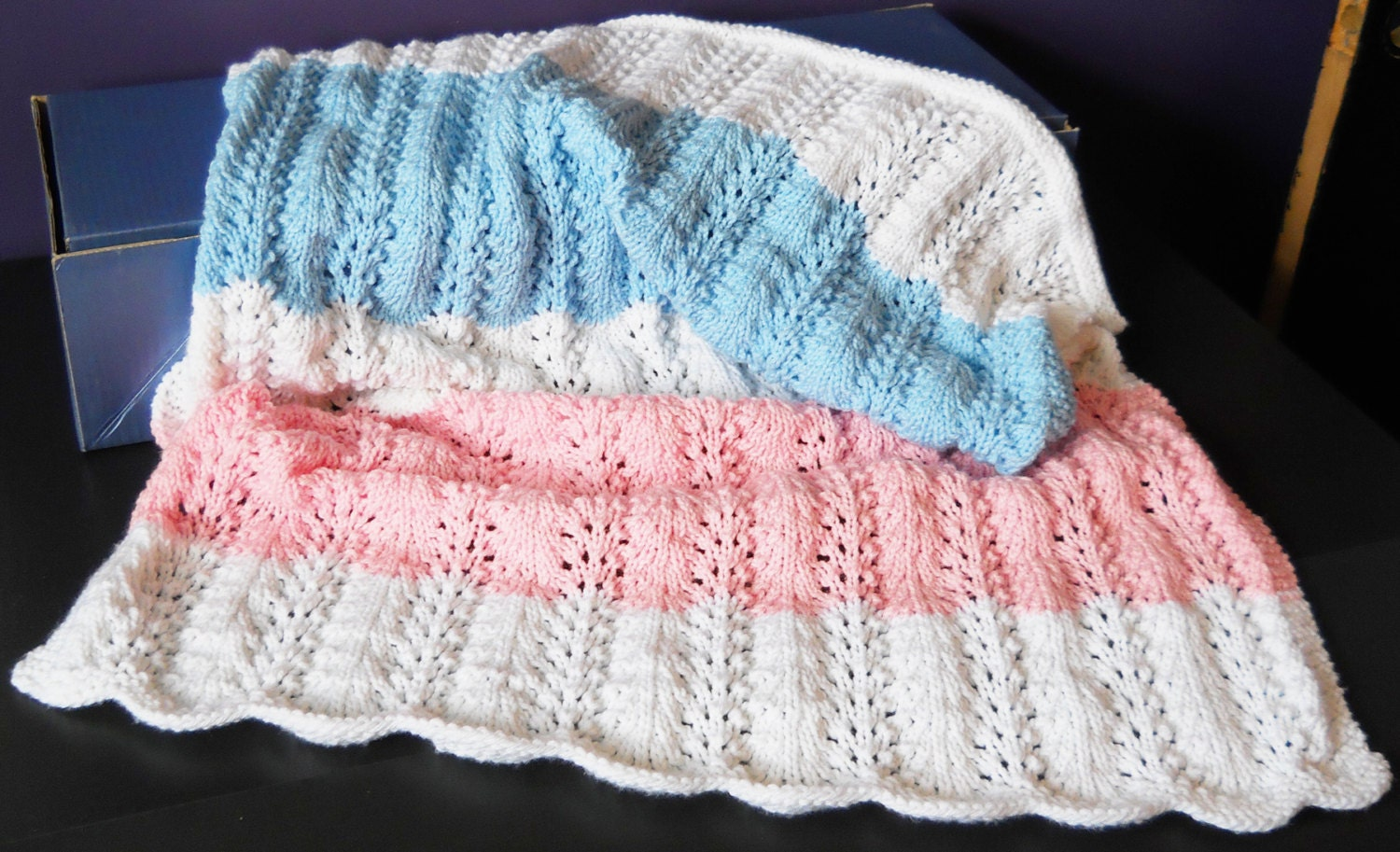 Fan And Feather Knitting Pattern For Baby Blanket : Feather and Fan Pattern Baby Blanket