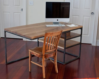 Steel and Butternut Computer Desk