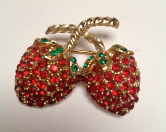 Red Strawberry Rhinestone Brooch with Green Rhinestone Leaves-Great Condition